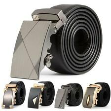 Automatic Buckle Belts New Dress Waist Strap Black Genuine Leather Men's Belts