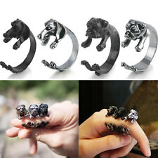 Antique Vintage Cute Dog Ring Pet Animal Gift Puppy Wrap Adjustable Cuff Ring