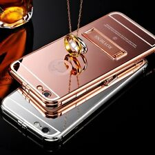 Luxury Aluminum Metal Kickstand Mirror Back Case for iPhone 6 6s Plus