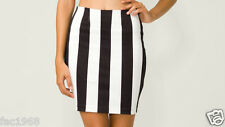 Motel Rocks Becka Skirt Bodycon Black White Stripe Stretch Mini XS S M L UK 8-14