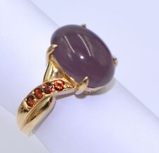 NICE CABOCHON LAVENDER IOLITE GARNET 5.40TCW RING Solid 14K Yellow Gold Size 8