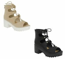 New Ladies Womens Gladiator Lace Up Chunky Ankle Sandals Boots Size 3-8