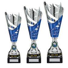 Personalised Silver & Blue Multi Sport Cup Trophy Award, Engraved With Any Text