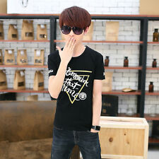Men Slim Shirt Fashion Letter Printed O-Neck Short Sleeve Casual T-Shirt