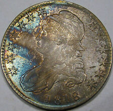 1818 O-109 Capped Bust Half Dollar Choice AU++... with Superb Album Toning, NICE
