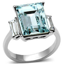 Stainless Steel Womens Radiant Cut CZ Aquamarine Fashion Cocktail Ring Size 5-10