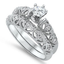Sterling Silver CZ Vintage Antique Filagre Engagement Wedding Ring Set Size 5-10