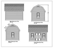 SHED PLANS 16'X12 DRAWINGS BLUEPRINTS SHED 12'X16' GABLE FRONT DORMER 1612GBLDRM