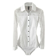 Lady Girl Work Office School Formal White Splice Lace Bodysuit Blouse Shirt Top