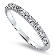 Sterling Silver .925 2 Row CZ Anniversary Eternity Wedding Band Ring Size 4-10