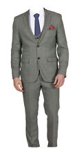 MARC DARCY 3 PIECE CHECK SUIT - WAISTCOAT + JACKET + TROUSERS STYLE JAMES - GREY