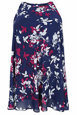 Yoursclothing Plus Size Womens Navy, Pink & White Floral Smudge Tunic Dress