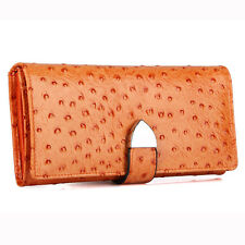 Ladies Ostrich Genuine Leather Long Wallet Purse Card Holder Trifold Checkbook