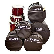 Chase Padded Drum Kit Gig Bag Set Soft Case 5 Piece Snare Bass Tom Black Bags