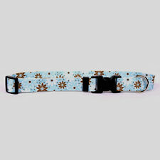 Dog Puppy Designer Collar - Yellow Dog - Made In USA - Daisy Chain Blue