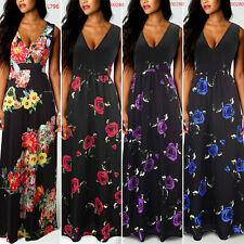 Womens Rose Floral Long Maxi Dress Sexy V Neck Sleevless Summer Beach Sundress