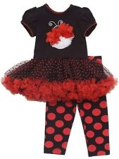 Rare Editions Girls Ladybug Polka Dot Tutu Dress and Legging 2 PC Set  2T 3T New