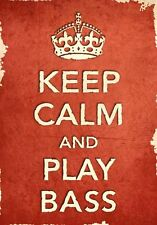 ACR16 Vintage Style Red Keep Calm Play Bass Music Funny Poster Print A2/A3/A4