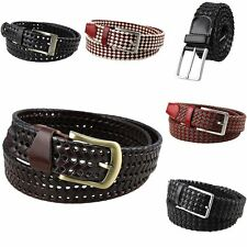 Mens Genuine Leather Hollow Out Woven Casual Pin Buckle Waist Band Belt Belts