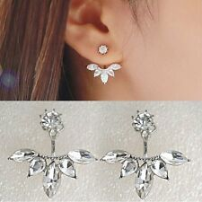 Fashion Elegant Crystal Rhinestone Leaves Ear Women Lady Stud Earrings New 1Pair