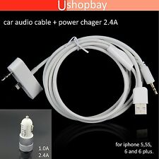 Car Audio 3.5mm AUX Cable 3.1A USB Charger for iPhone 5  5s 6 PLUS