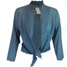 Ladies Blue Tie-Up Tie Up Summer Blouse Wrap Arround Cardigan Frilly Shrug