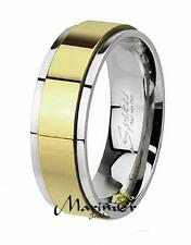 Two Toned Gold Ion Plated Stainless Steel Spinner Wedding Band Ring Sizes 5-14