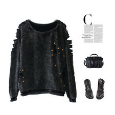 Rock Punk Gothic Top Stud Rivet Grunge Hipster Emo Cut Out Shirt  Faded Rip Torn