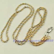 """23.6"""",19.7"""",2mm ROPE CHAIN NECKLACE,REAL POSH 18K YELLOW WHITE GP SOLID FILL GEP"""