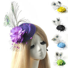 pillbox hat fascinator hair clip accessories lady bridal feather peafowl wedding