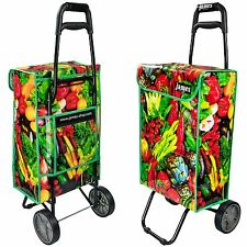 Large 40L Grocery Shopping Trolley Wheeled Bag Cart Basket Folding Wheels Funky