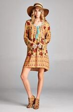 PLUS SIZE FLORAL TAN MOCHA MINT BOHO GYPSY BABYDOLL SHIRT TUNIC DRESS 1X 2X 3X