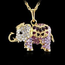 3D Animal Elephant Crystal Rhinestone Pendant Long Necklace Gold Sweater Chain