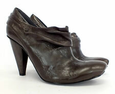 New KING DEREK Genuine Leather Brown Ruched Heels Shoes Booties ALL SIZES-HV E26