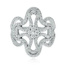 BERRICLE Sterling Silver CZ Cross Fashion Right Hand Cocktail Ring
