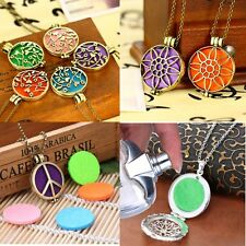 Aromatherapy Essential Oil Diffuser Locket Necklace Circular Pendant Gold/Silver