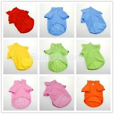 6 Color Dog Pure Cotton T-shirt Pet Apparel Lapel and Sleeved Clothes For Summer