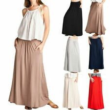 Solid Plain Ruched Detail Full Length Maxi Skirt with Side Pockets Rayon S M L