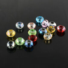 10pcs /100pcs Mixed Color Faceted Rondelle Glass Large Hole Beads 8x5mm /10x7mm