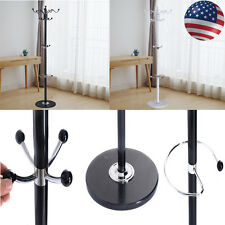 "15 Hooks 70"" Metal Coat Hat Stand Tree Holder Hanger Rack w/ Marble Base Good"