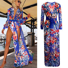 New Women Sexy Summer Beach Chiffon Sundress Deep V Floral Split Maxi Long Dress