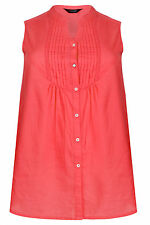 Yoursclothing Plus Size Womens Coral Sleeveless Blouse With Pintuck Detail