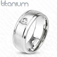 Solid Titanium Men's 8MM CZ Comfort Fit Wedding Band Ring Size 9-13