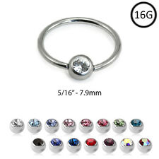 Captive Bead Ring Nose Ring Septum Hoop 5/16 2mm CZ 16G