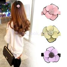Women's Girls Camellia Hair Barrette Clip Ponytail Grip Flower Hair Accessory