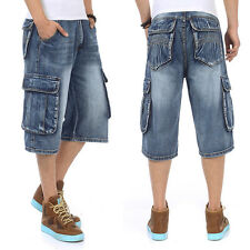 HOT Mens Jeans Shorts Hip Hop Skateboard Wear Classic Fit Cargo Plus Size Waist
