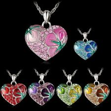 Gifts Sweet Love Heart Crystal Enamel Pandent Sweater Chain Long Flower Necklace