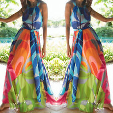 Womens Floral Chiffon Halterneck Beach Holiday Evening Party Cocktail Maxi Dress