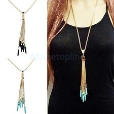 Retro Tassel Gold Plate Long Sweater Chain Lady Jewelry Pendant Necklace Fashion
