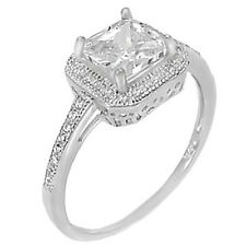 Sterling Silver 925 CZ Halo Princess Cut Women's Engagement Wedding Ring 5-10